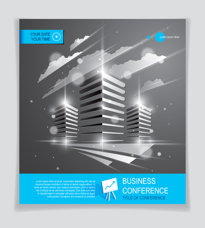 Bürogebäudebroschüre, moderner Architekturvektorflieger mit unscharfem Licht und Blendeffekt. Graues Design des Immobiliengeschäftszentrums. 3D futuristische Fassade Geschäftskonferenz Druckvorlage.