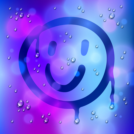 Cute smiley drawn on a window over blurred background and water rain drops, vector realistic illustration, happy when its rainy weather beautiful art.