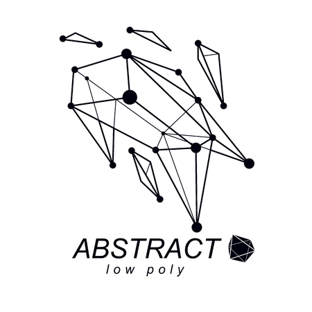 3d polygonal geometric faceted object, vector abstract design element. New technology logotype.