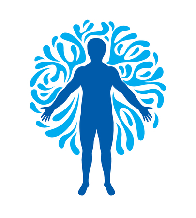 Vector graphic illustration of strong male, body silhouette surrounded by a water ball. Living in harmony with nature. 일러스트