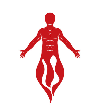 Vector illustration of human being standing. Hephaestus creative metaphor. Vectores