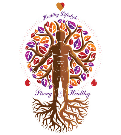 Vector illustration of athletic man made as continuation of tree with roots. Strong heart is good health, wellness center abstraction. 矢量图片