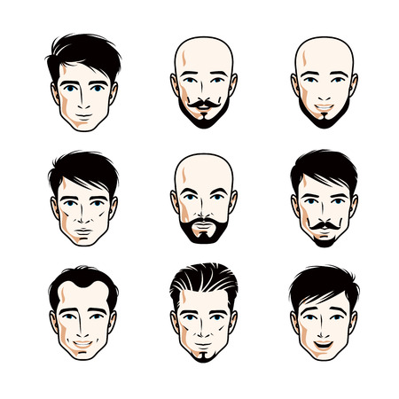 Collection of Caucasian men faces expressing different emotions, vector human head illustrations.