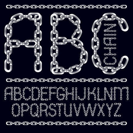 Vector English alphabet letters, abc collection. Capital decorative font created using chrome chain, linkage. Ilustração