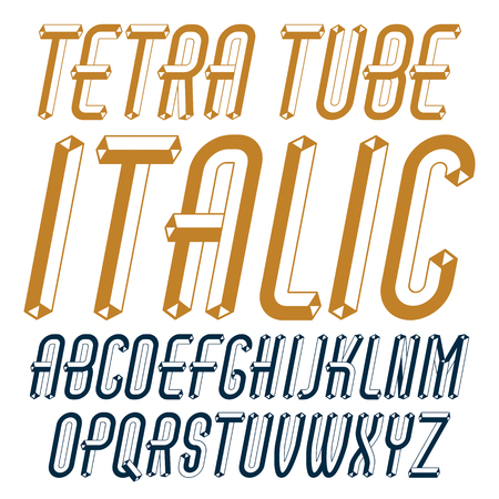 Vector fun capital English alphabet letters collection. Retro italic condensed font, script from a to z can be used in art  poster art. Made with 3d tetra tube design, industry style.