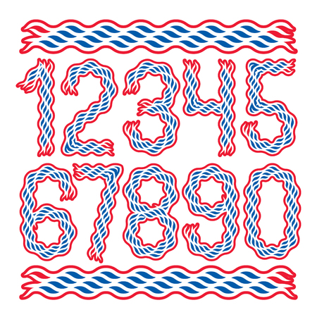 Set of vector bold numbers created using elegant flowing lines, can be used in poster design.