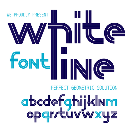 Vector regular lower case English alphabet letters collection with white stripes, for use in logo design for news and broadcasting company. Illustration