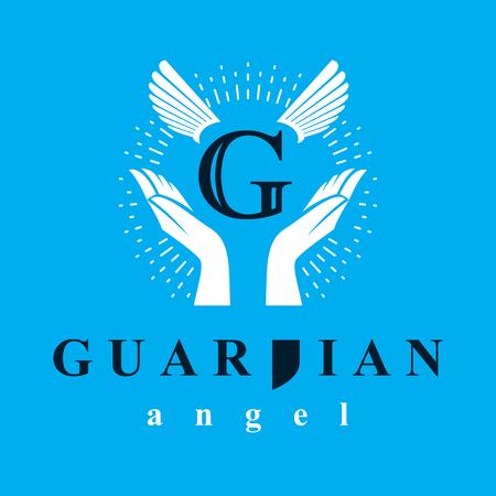 Emblema concettuale di vettore di angelo custode migliore per l'uso nelle organizzazioni di catechesi.