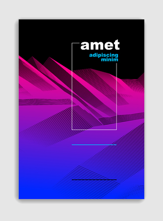 Abstract line art vector minimal contemporary brochure design, cover template, geometric halftone gradient. For Banners, Placards, Posters, Flyers. Beautiful and special, pattern texture.