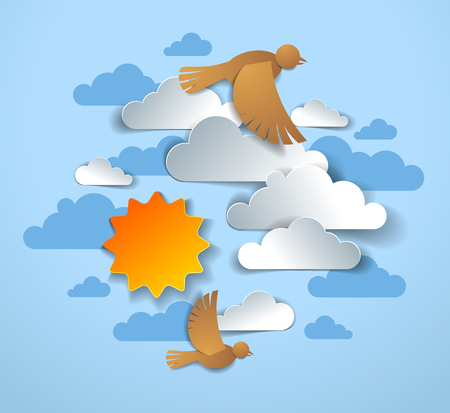 Birds flock flying among beautiful clouds and sun in the sky, summer ease and peaceful feeling, vector illustration in paper cut kids style. Illustration