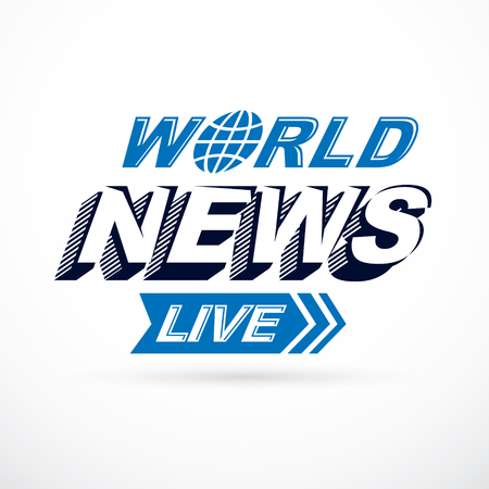 World live news inscription, vector illustration. Social telecommunication.