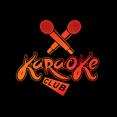 Karaoke club inscription, nightlife entertainment conceptual vector emblem created using recorder microphone audio device.