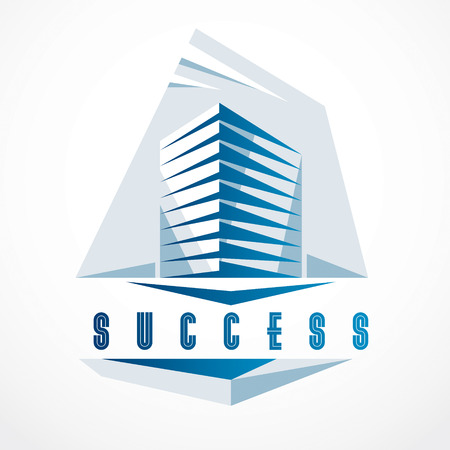 Office building, modern architecture vector illustration. Real estate realty business center design. 3D futuristic facade in big city. Can be used as a logo or icon.