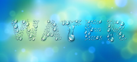 Water word designed with realistic water drops with blurred background beyond, vector illustration of ecology theme, ecosystem, environment protection.