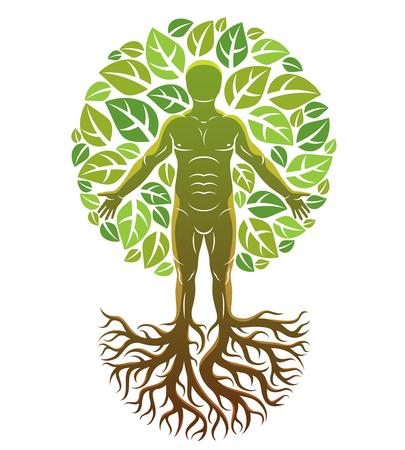 Ilustración de vector de atleta humano creado como continuación de árbol con raíces fuertes y rodeado de hojas verdes ecológicas. Tema de conservación del medio ambiente, metáfora de la innovación verde.