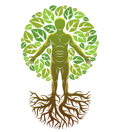 Vector illustration of human, athlete created as continuation of tree with strong roots and surrounded by eco green leaves. Environmental conservation theme, green innovation metaphor. Imagens - 126379031