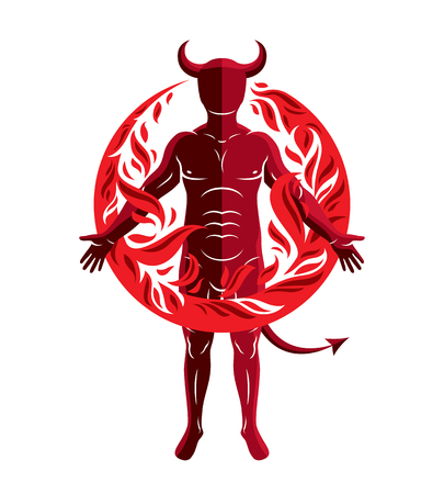 Athletic horned man surrounded by a fireball. Vector illustration of mystic infernal demon, evil Lucifer. 矢量图片