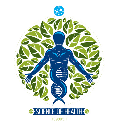 Vector graphic illustration of muscular human depicted as DNA symbol continuation and created with ecology tree leaves. Green thinking technology innovations, ecology conservation concept. Imagens - 126379034