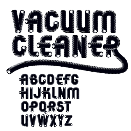 Set of trendy modern vector upper case alphabet letters isolated. Funky rounded font, typescript for use as business poster design elements. Created using dimensional vacuum pipe style.