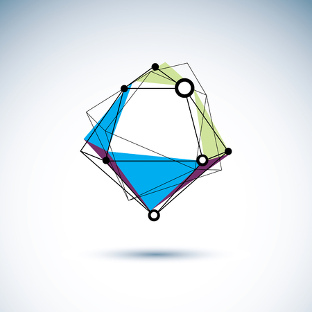 Innovation technologies emblem. Abstract geometric 3D wireframe object, vector illustration. Vector Illustratie