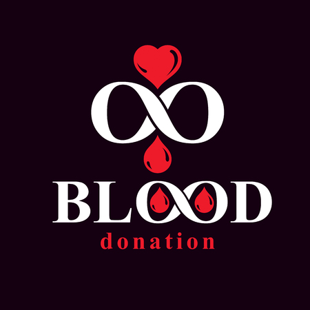 Blood donation inscription isolated on white and created with vector red blood drops, heart shape and infinity symbol. Medical theme graphic logo for use in charitable organizations. Logo