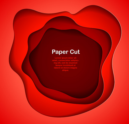 Abstract red paper cutout curvy shapes layered, vector illustration in paper cut style. layout for business card, presentations, flyers or posters. Иллюстрация
