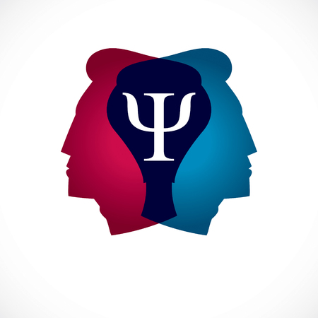 Psychology and mental health concept, created with double man head profile as an archetype and shadow, psychoanalysis, individuality and psychical problems. Vector logo or icon design.