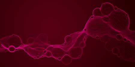 Bubbled abstract vector fluid particle flow, nano medical technology, microbiology science fiction theme illustration. Vectores