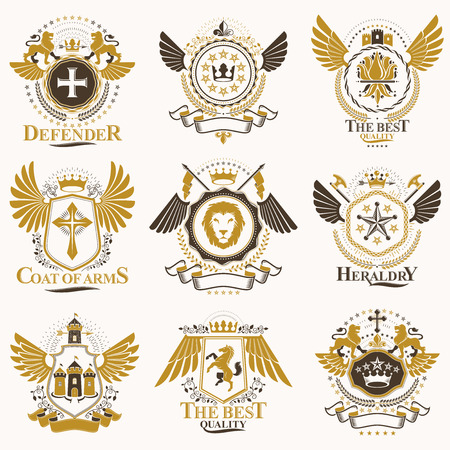 Collection of vector heraldic decorative coat of arms isolated on white and created using vintage design elements, monarch crowns, pentagonal stars, armory, wild animals.  イラスト・ベクター素材
