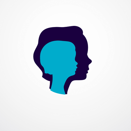 Girl growing to adult age years concept illustration, from child to teen and woman, period and cycle of life, getting old, maturation and aging. Vector simple classic icon or logo design. 向量圖像