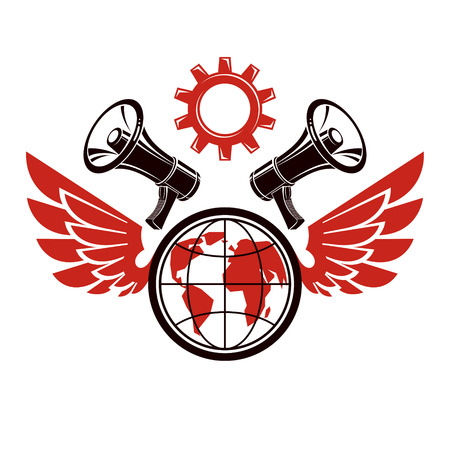 Simple vector emblem created using Earth planet illustration composed with wings, industrial gear and loudspeakers equipment. Propaganda as the method of global ideology imposing. 矢量图片