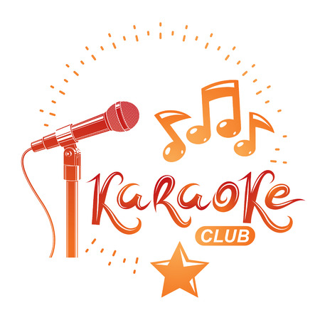 Stage microphone audio equipment composed with musical notes, can be used as vector emblem for karaoke club advertising and nightclub discotheque invitation poster.