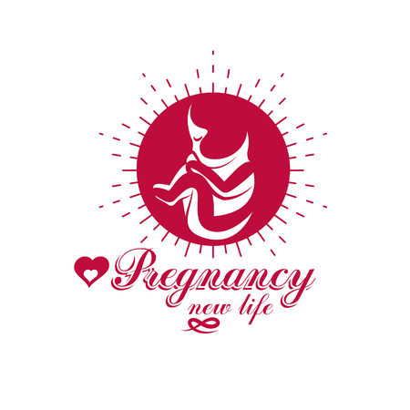 Vector embryo emblem. New life beginning drawing. Pregnancy assistance center conceptual icon.