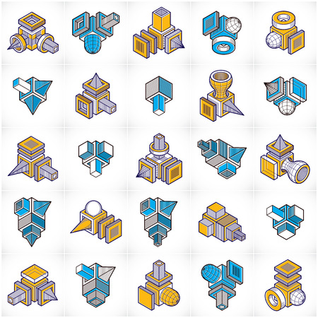 Abstract constructions vector set, dimensional designs collection.