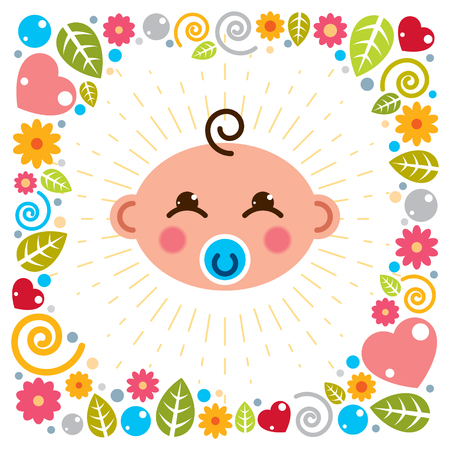 Cute baby cartoon vector flat icon, adorable happy and smiling child with nipple emoji. With nice childish frame of flowers, hearts and leaves. Ilustração