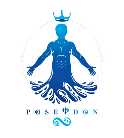 Vector illustration of human, athlete. Poseidon the god of sea and defender of all waters. Illustration