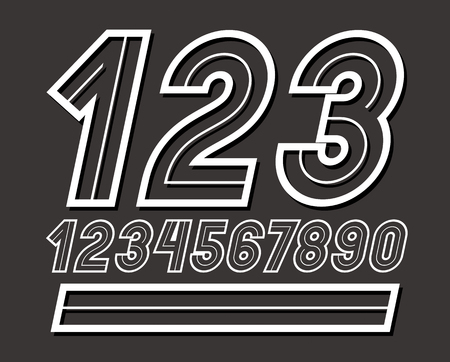 Set of stylish retro rounded vector digits, modern numerals collection can be used in poster art creation.