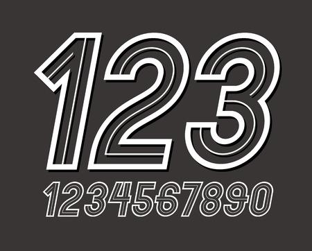 Ensemble de chiffres vectoriels arrondis rétro élégants, la collection de chiffres modernes peut être utilisée dans la création d'affiches.
