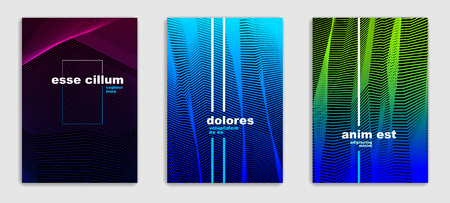 Line art vector minimalistic modern brochures set design, cover templates, geometric halftone gradient. For Banners, Placards, Posters, Flyers. Perfect and unlike, pattern texture. 向量圖像