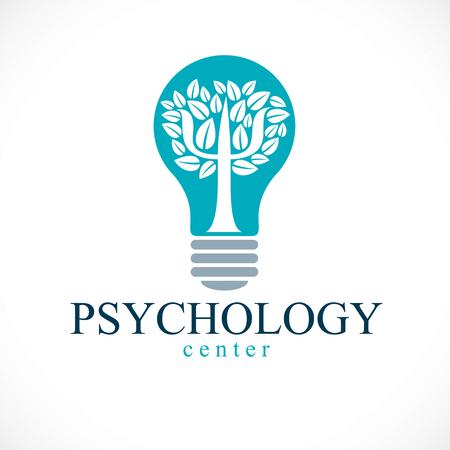 Logotipo de vector de concepto de psicología o icono creado con el símbolo griego Psi como un árbol con hojas dentro de la bombilla de la idea, concepto de salud mental, análisis de psicoanálisis y terapia de psicoterapia.