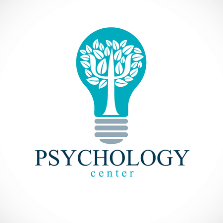Psychology concept vector logo or icon created with Greek Psi symbol as a tree with leaves inside of idea light bulb, mental health concept, psychoanalysis analysis and psychotherapy therapy. Иллюстрация