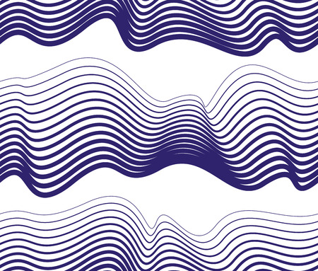Waves seamless pattern, vector water runny curve lines abstract repeat endless background, blue color rhythmic waves. Vektoros illusztráció