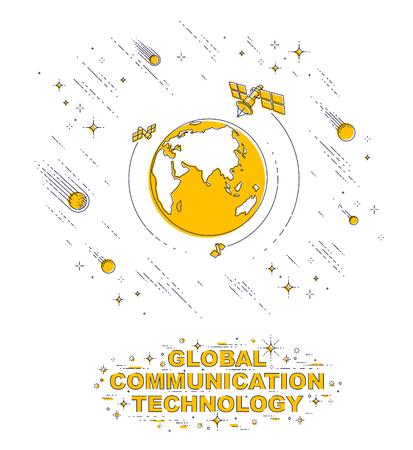 Planeta Tierra en el espacio rodeado de satélites artificiales, estrellas y otros elementos. Tema de tecnología de comunicación global. Ilustración de vector 3d de línea delgada aislado en blanco. Ilustración de vector