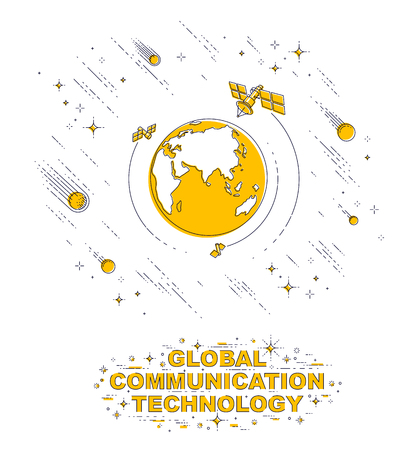 Planet Earth in space surrounded by artificial satellites, stars and other elements. Global communication technology theme. Thin line 3d vector illustration isolated on white.
