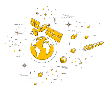 Satellite orbiting around earth, spaceflight, communication spacecraft space station with solar panels and satellite antenna plate, with rockets, stars and other elements. Vector. Vectores