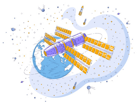 Space station orbiting around earth, spaceflight, spacecraft spaceship with solar panels, artificial satellite, with rockets, stars and other elements. Thin line 3d vector illustration.
