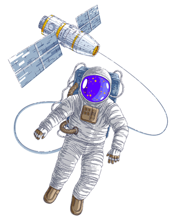 Astronaut flying in open space connected to space station, spaceman in spacesuit floating in weightlessness and spacecraft with solar panels behind him. Vector illustration isolated over white.  イラスト・ベクター素材