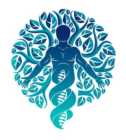 Vector de carácter individual, místico derivado de hebras de ADN y elaborado con hojas de árbol ecológico. Interacción humana, ciencia y ecología, equilibrio entre tecnología y naturaleza.