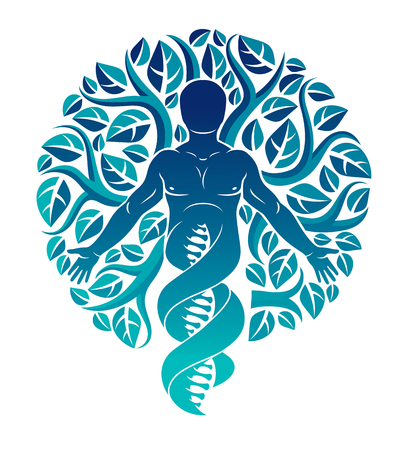 Vector individual, mystic character deriving from DNA strands and made with eco tree leaves. Human, science and ecology interaction, technology and nature balance. Stock Illustratie