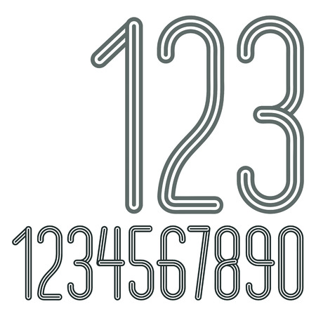 Vector trendy numbers collection. Retro condensed numerals from to 9 best for use in poster creation. Created using triple stripy, parallel lines. Vecteurs